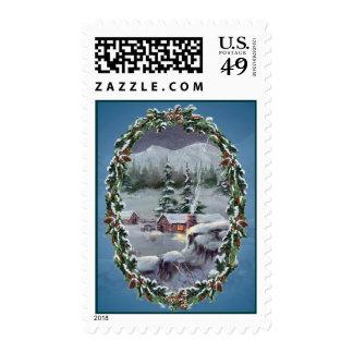 LOG CABIN & FIR BOUGHTS by SHARON SHARPE Stamp