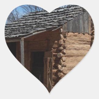 Log Cabin Heart Sticker