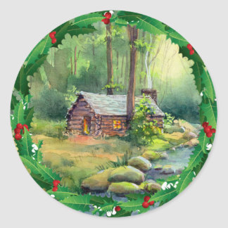 LOG CABIN HOLLY CHRISTMAS by SHARON SHARPE Classic Round Sticker