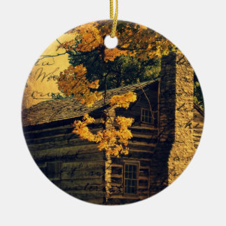 Log Cabin in Autumn Ceramic Ornament