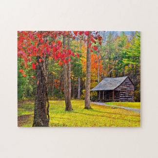 Log Cabin In Autumn Jigsaw Puzzle