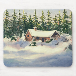 LOG CABIN in SNOW by SHARON SHARPE Mouse Pad