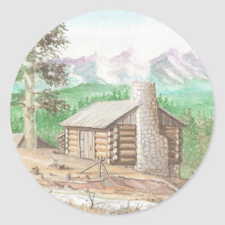 Log cabin in the Woods Round Stickers