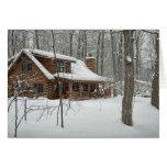 Log Cabin in Winter greeting card
