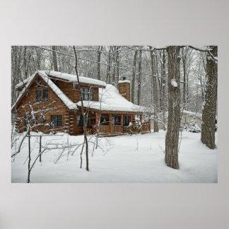 Log Cabin in Winter Poster