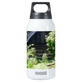 log cabin insulated water bottle