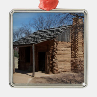 Log Cabin Metal Ornament
