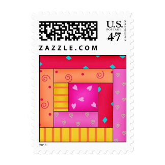 Log Cabin Patchwork Quilt Block Art Postage