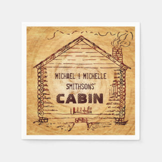 Log Cabin Personalized Faux Wood 2 Paper Napkins