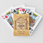 Log Cabin Personalized Faux Wood Bicycle Playing Cards