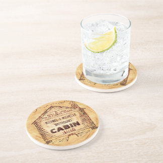 Log Cabin Personalized Faux Wood Coasters