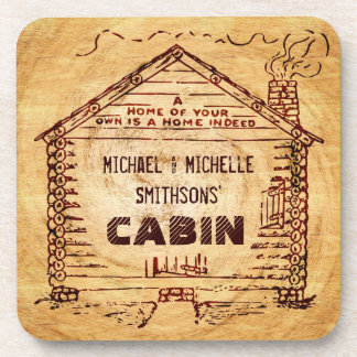Log Cabin Personalized Faux Wood Beverage Coasters