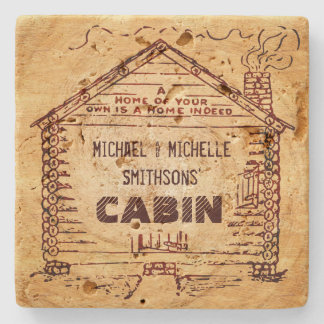 Log Cabin Personalized Faux Wood Stone Beverage Coaster