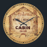 """Log Cabin Personalized Faux Wood Large Clock<br><div class=""""desc"""">This rustic, custom cabin design has a swirled, faux wood look that gets lighter in the middle. Inside the old-fashioned cabin drawing - derived from a vintage, early 1900&#39;s advertisement - you can add your name. The word &quot;CABIN&quot; can also be changed to &quot;HOME&quot; or another short word. The design...</div>"""