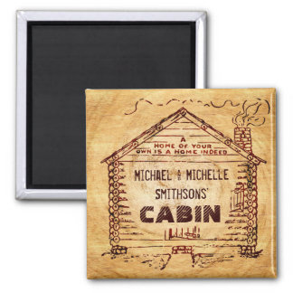 Log Cabin Personalized Faux Wood Magnet
