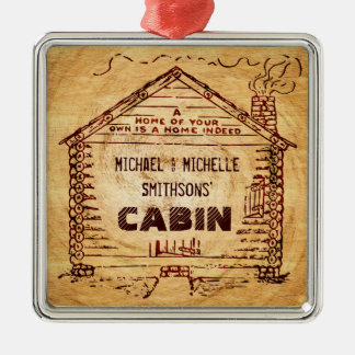 Log Cabin Personalized Faux Wood Metal Ornament