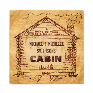 Log Cabin Personalized Faux Wood Wood Coaster