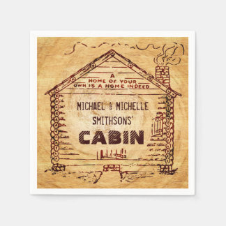 Log Cabin Personalized Faux Wood Paper Napkins