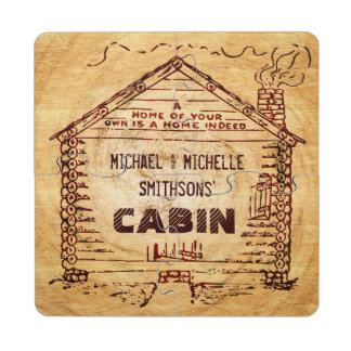 Log Cabin Personalized Faux Wood Puzzle Coaster
