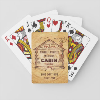 Log Cabin Personalized Faux Wood Playing Cards