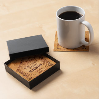Log Cabin Personalized Faux Wood Beverage Coaster