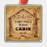 Log Cabin Personalized Faux Wood Square Metal Christmas Ornament