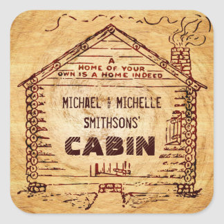 Log Cabin Personalized Faux Wood Square Sticker