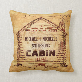 Log Cabin Personalized Faux Wood Throw Pillow
