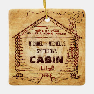 Log Cabin Personalized Faux Wood Your Name 2 Sides Ceramic Ornament