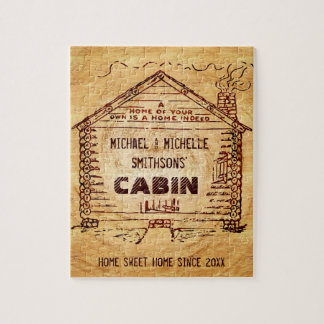 Log Cabin Personalized Name Faux Wood Vintage Jigsaw Puzzle