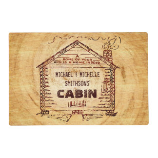 Log Cabin Personalized Name Faux Wood Vintage Placemat
