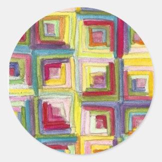 log cabin quilt classic round sticker