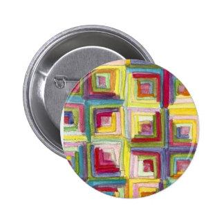 log cabin quilt pinback button
