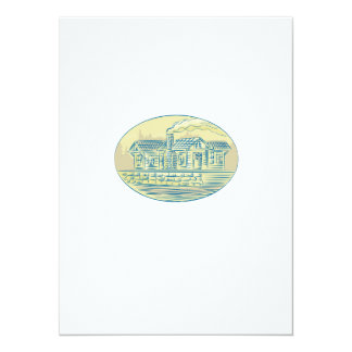 Log Cabin Resort Oval Etching 5.5x7.5 Paper Invitation Card