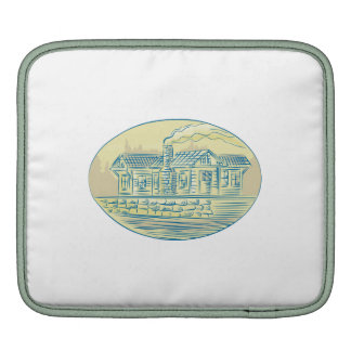Log Cabin Resort Oval Etching Sleeves For iPads