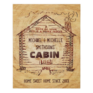 Log Cabin Rustic Wood Look | Personalized Family Faux Canvas Print