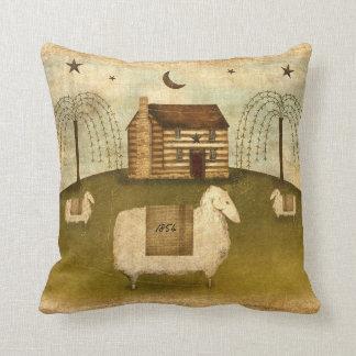 Log Cabin Sheep Throw Pillow