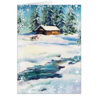 LOG CABIN & SNOWFLAKES by SHARON SHARPE Card