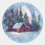 LOG CABIN & SNOWFLAKES by SHARON SHARPE Round Sticker