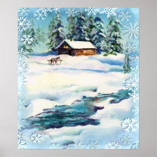 LOG CABIN, SNOWFLAKES & STREAM - Canvas Print