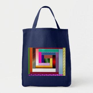 """log cabin"" spiral tote bags"