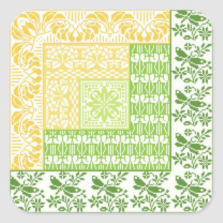 Log Cabin Spring Square Stickers