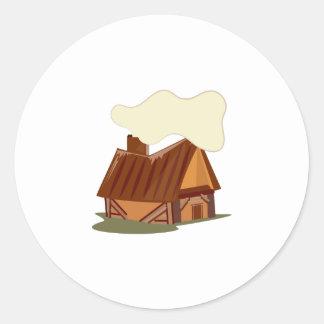 Log Cabin Round Stickers