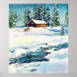 LOG CABIN & STREAM - Canvas Print