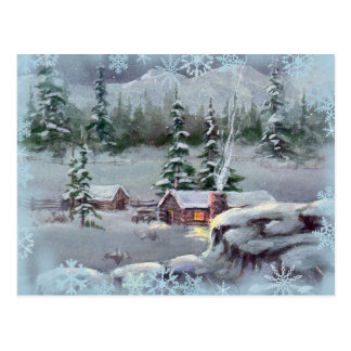 LOG CABIN & SWNOWFLAKES by SHARON SHARPE Postcard