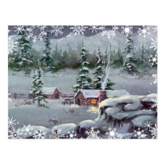 LOG CABIN & SWNOWFLAKES by SHARON SHARPE Post Cards