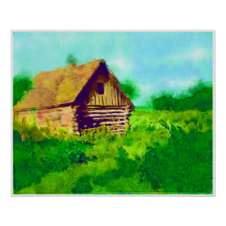 Log Cabin View Posters
