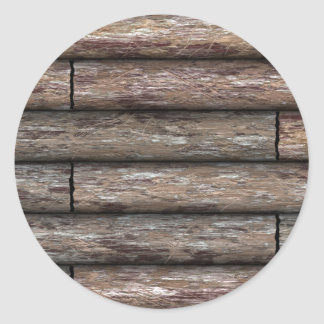 Log Cabin Wall Classic Round Sticker