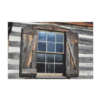 Log Cabin Window Canvas Print