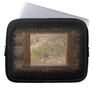 Log Cabin Window Laptop Bag